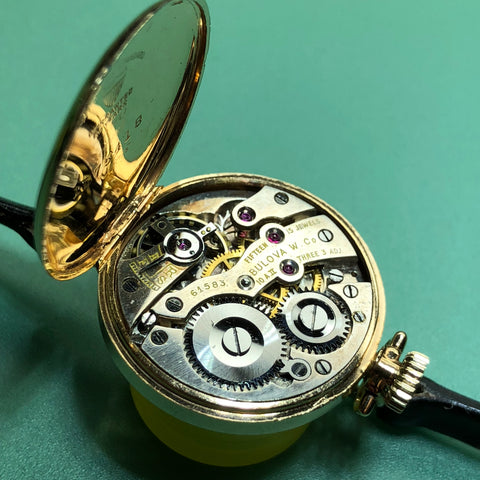 Bulova 1926 Transitional Womens Pocket Watch on Leather Strap Fully Serviced by ClockSavant - Movement