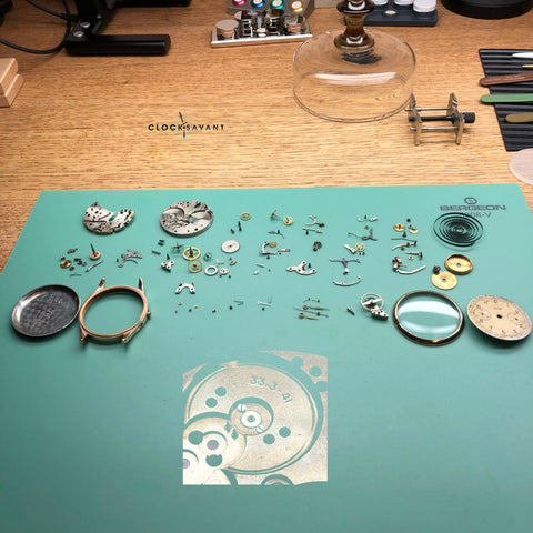 Omega 33.3 Lemania 15TL being serviced by ClockSavant