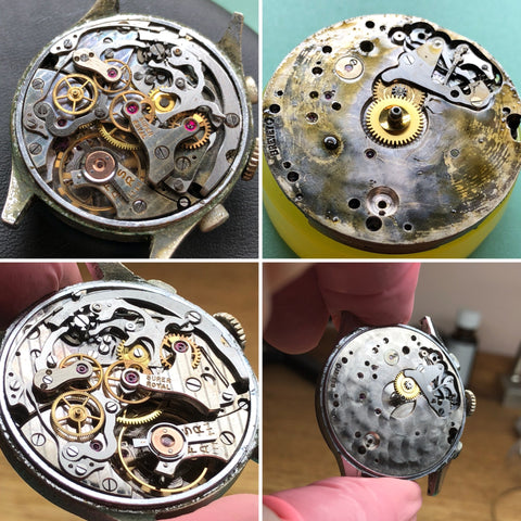Landeron 52 vintage column wheel chronongraph before-and-after servicing by ClockSavant