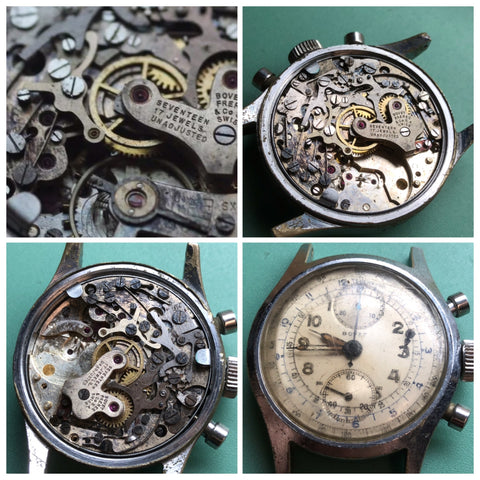 Bovet Valjoux 92 Chronograph from 1950 - ClockSavant Restoration
