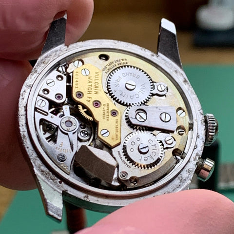 Servicing a 1950's Vulcain Cricket Alarm calibre 120 family watch