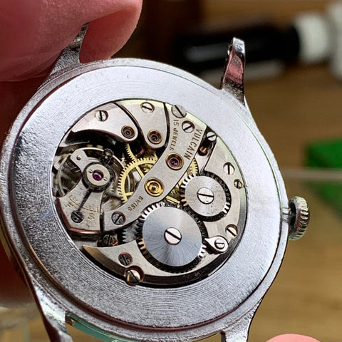Servicing a vintage Vulcain Campos watch from the 1940's