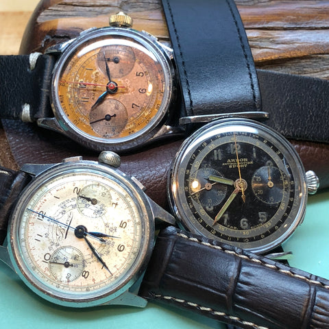 Trio of Landeron 47 flyback chronographs fully serviced by ClockSavant