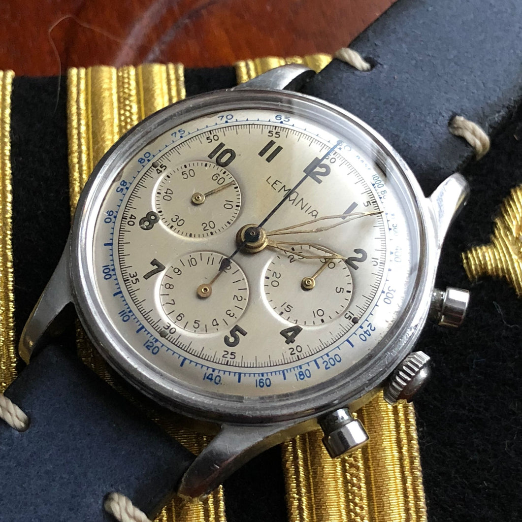 Sold - Lemania Vintage Military Pilot Aviator Chronograph Calibre 27 CH (Omega 321) Same as Omega 2451 - US Navy World War II Inscription 1942-1949 - ClockSavant
