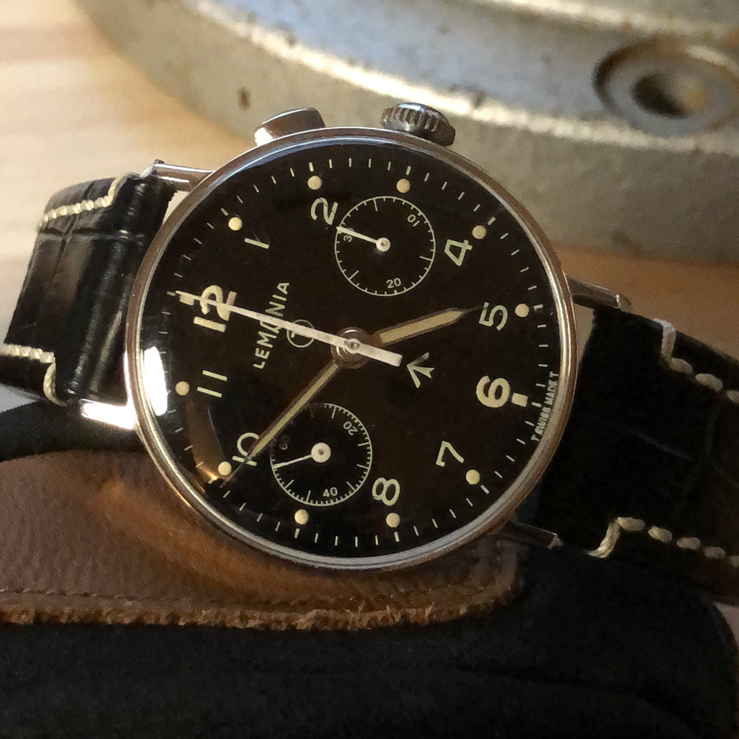 Sold - Lemania Military Pilot's Vintage Chronograph Calibre 15CHT 15TL Black Dial Same as Omega 33.3 - ClockSavant