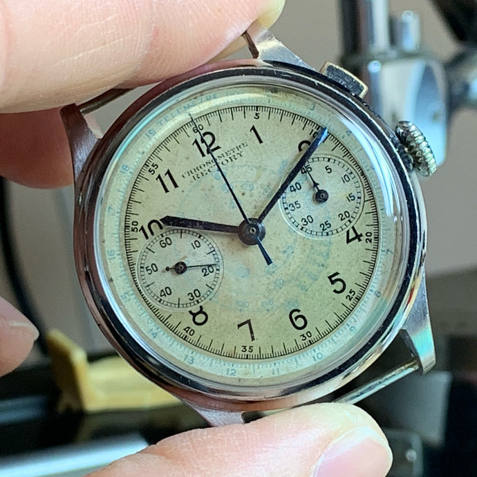 Sold - Angelus Rectory Monopusher Vintage Chronograph Calibre SF 15 Circa 1927 - Fully Serviced by ClockSavant - ClockSavant