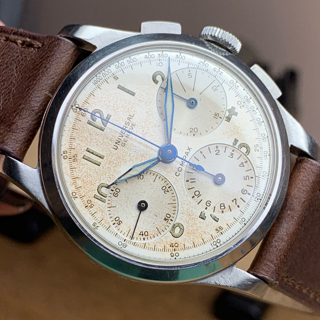 Sold - Universal Geneve Compax Vintage Chronograph Reference 22493 Calibre 287 ~ 1942 - Fully Serviced by ClockSavant - ClockSavant
