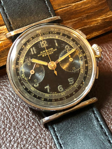 Sold - Arbor Sport Landeron 47 flyback Three Pusher Chronograph Circa 1937 - Fully Serviced by ClockSavant - ClockSavant