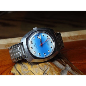 Sold - Waltham 1970's Date Watch Sky Blue Dial Calibre Lorsa P75a Made in France - Fully Serviced by ClockSavant - ClockSavant