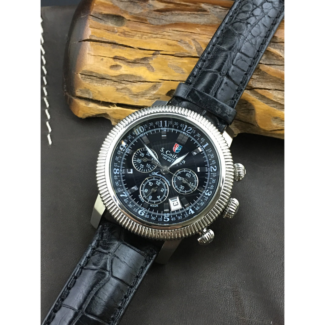 S. Coifman Pilot's Military Chronograph ETA 2894-2 Like New with Box & Papers - ClockSavant
