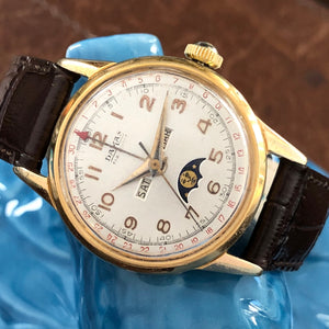 Sold - Damas 1940's Triple Date Moonphase Vintage Watch Rare Valjoux 89 - Fully Serviced by ClockSavant - ClockSavant