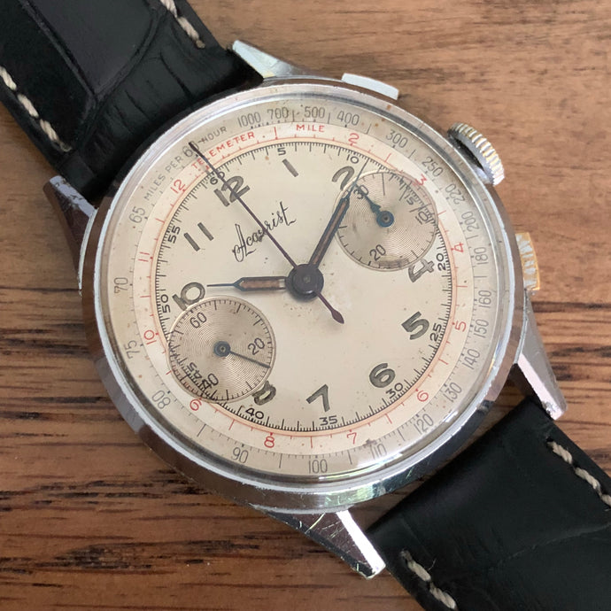 Upon Request Only - Accurist Vintage Chronograph Valjoux 22 Decorated Movement Stainless Steel - Fully Serviced by ClockSavant - ClockSavant