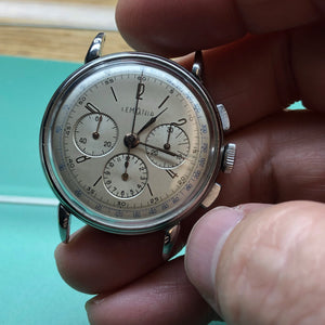 Sold - Lemania 27 CH (Omega 321) 1940's Vintage Chronograph Curved Lugs - ClockSavant