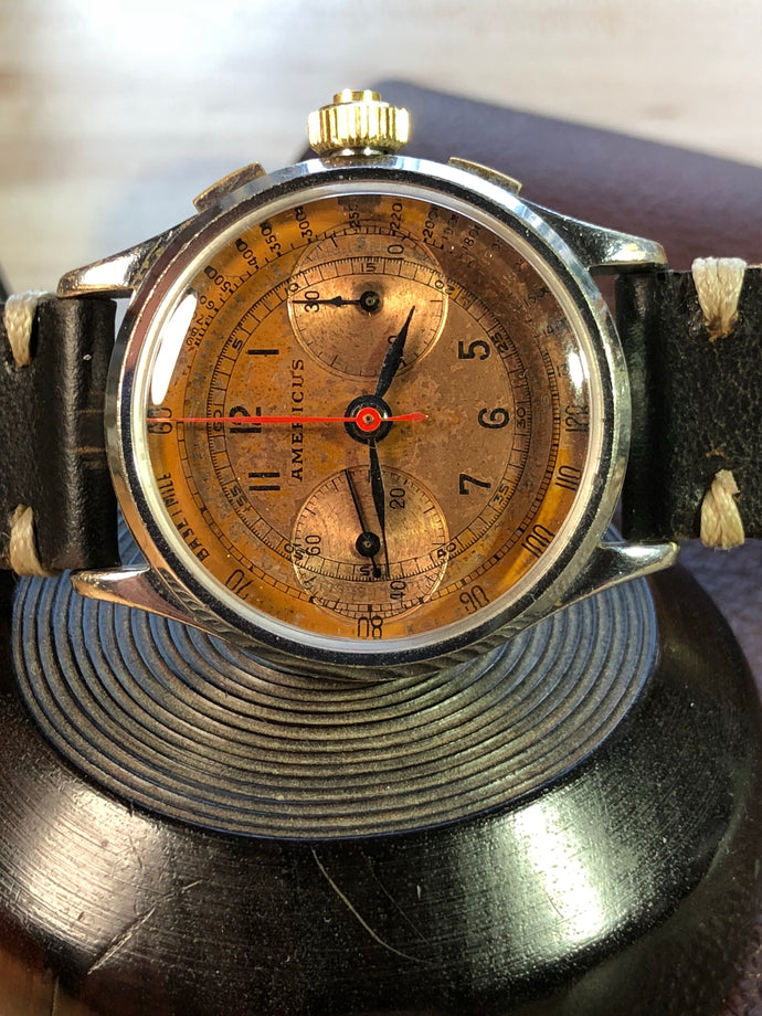 Sold - Americus Landeron 47 Flyback Three Pusher Chronograph Circa 1937 - Fully Serviced by ClockSavant - ClockSavant