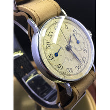 Sold - Unique Restored Military Pilot's Flyback Monopusher Vintage Chronograph Landeron 47 Circa 1937 - Fully Serviced by ClockSavant - ClockSavant