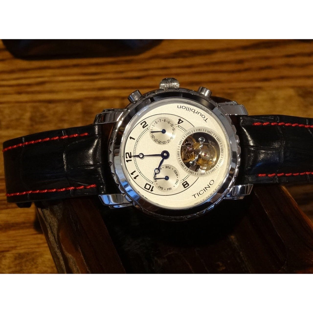 Sold - Ticino DG Real Automatic Chinese Tourbillon with Day and Date with Box - ClockSavant