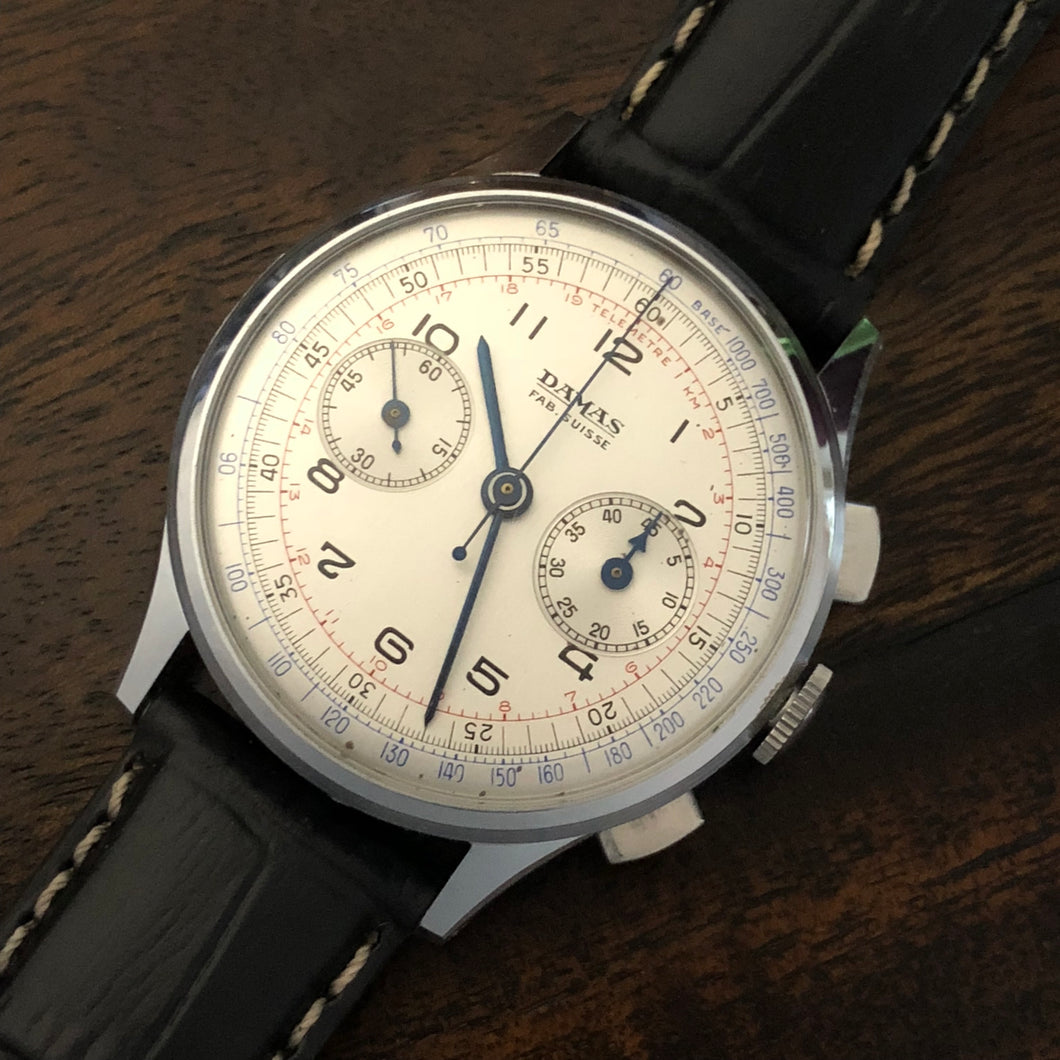 Sold - Damas 1940's New Old Stock Vintage Chronograph Gallet Excelsior Park Calibre 14J 40 - Original Strap and Hang Tag - Fully Serviced by ClockSavant - ClockSavant