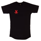 Deep in the Woods Long Body Tee - Black/Red