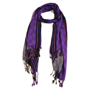Thin Stripes & Boxes Jacquard Scarf