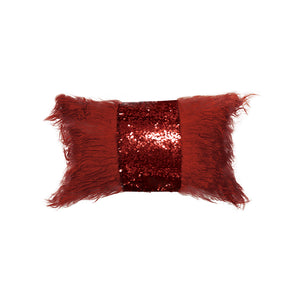 Rectangle Monster fur & Sequence Burgundy Throw Pillow
