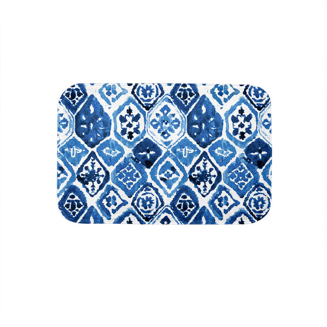 SuperSoft Navy Arabesque Tiles Door Mat