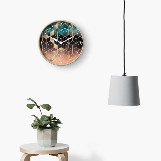 Emerald & Copper Cubes Wall Clock