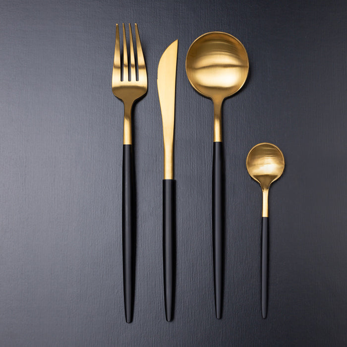 Matt Gold & Black Cutlery Set