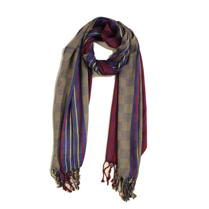 Thin Stripes & Small Boxes Jacquard Scarf