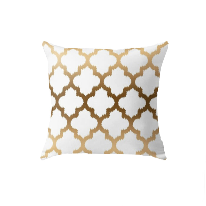 SuperSoft Gold Tones Ikat Quatrefoil Pattern