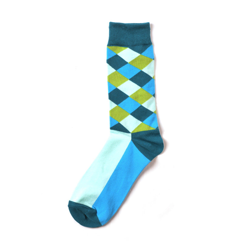 Colorful Diamonds Blue Crazy Socks