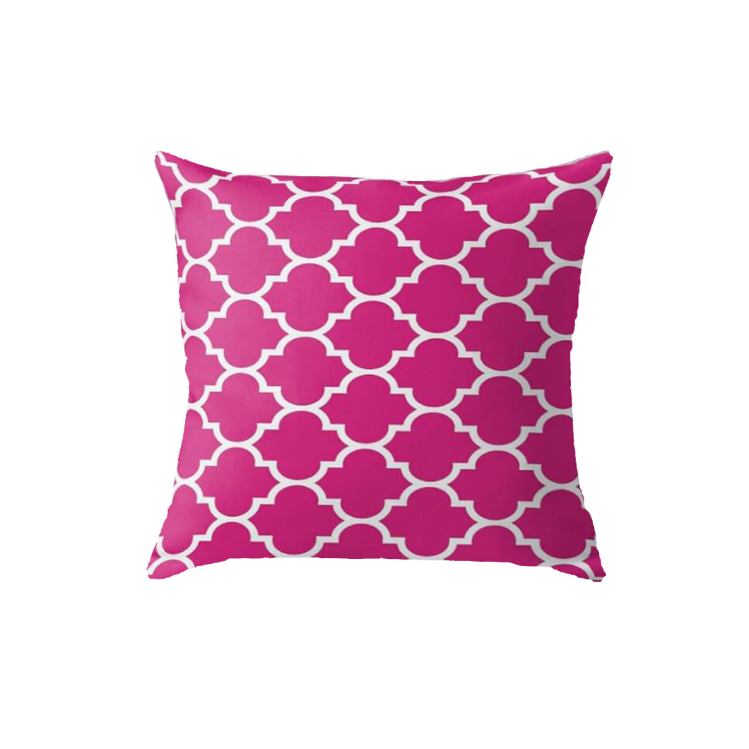 SuperSoft Pink Quatrefoil Throw Pillow