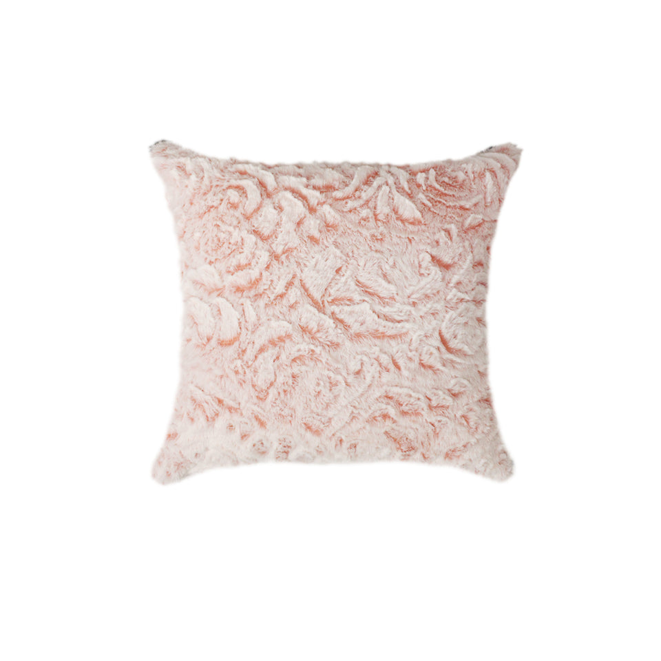 Soft Flower Pattern Cuddly Fur Throw Pillows