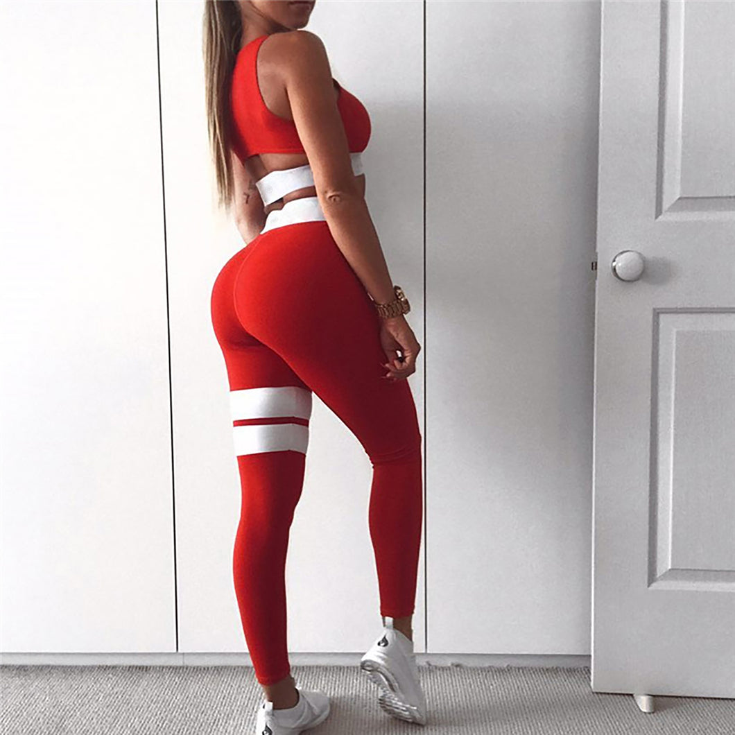 Red with White Crazy Workout 2 Pcs Set