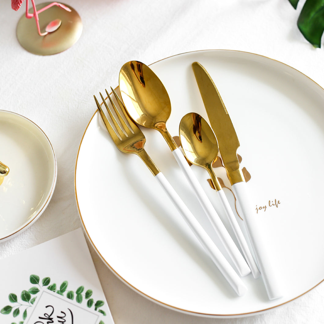Shiny Gold & White Cutlery Set