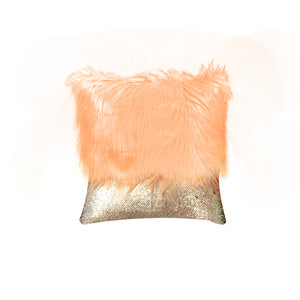 Monster fur & Sequence Orange Throw Pillow