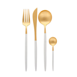 Matt Gold & White Cutlery Set (PRE ORDER)