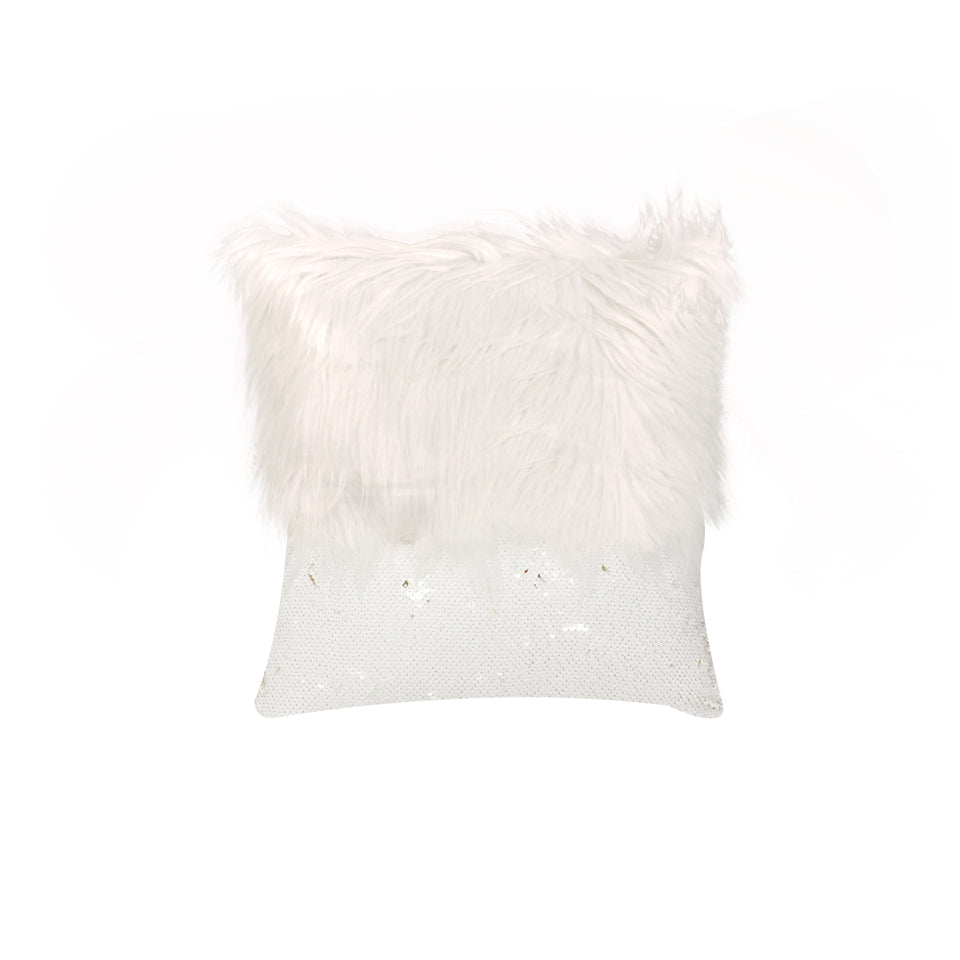 Monster fur & Sequence White Gold Throw Pillow