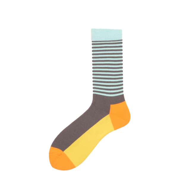 Stripe Solid Yellow Crazy Socks