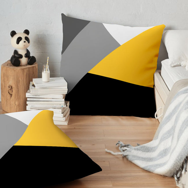 "(26""x26"") Supersoft Grey Yellow Black Geo FLOOR Cushion Cover"