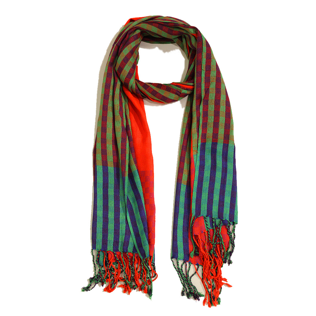 Vertical Boxes Jacquard Scarf