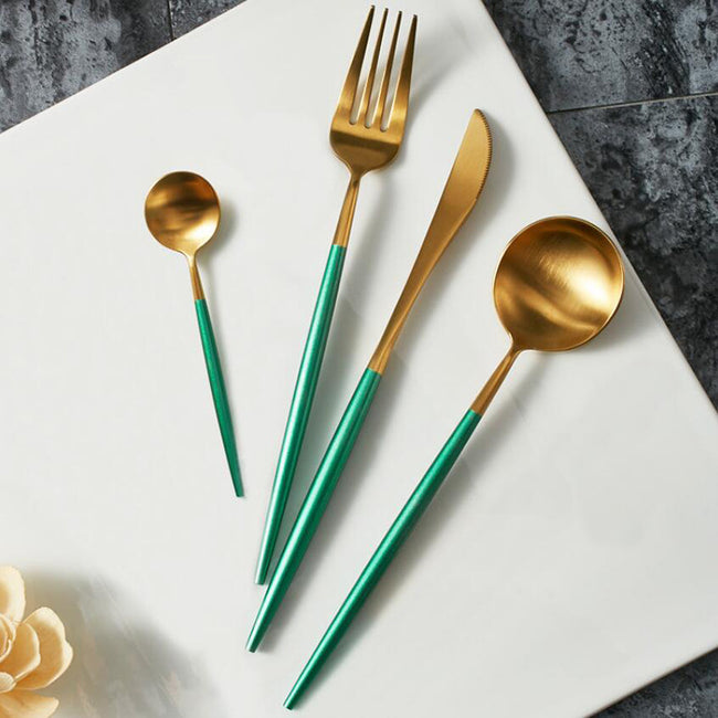Matt Gold & Light Green Cutlery Set