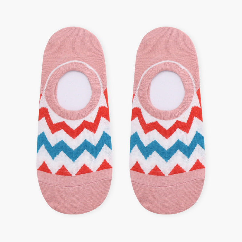 Red & Pink Chevron Low Cut Crazy Socks