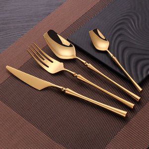 Shiny Modern Full Gold Cutlery Set