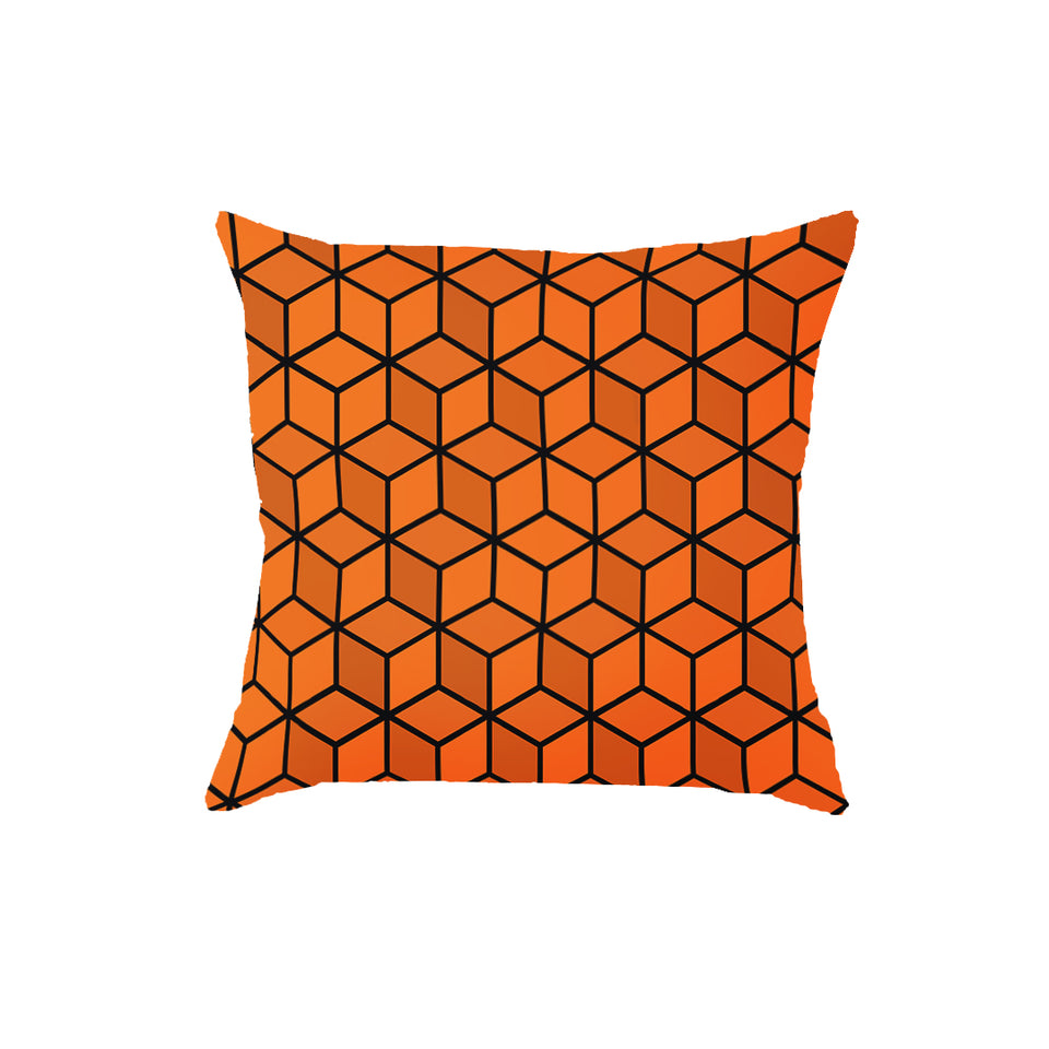 SuperSoft Orange Cubes Throw Pillow