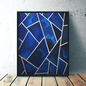 Navy & Silver Geo Canvas Painting
