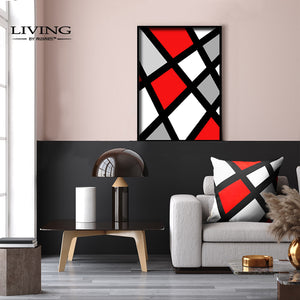 Red & Grey Geo Canvas Painting
