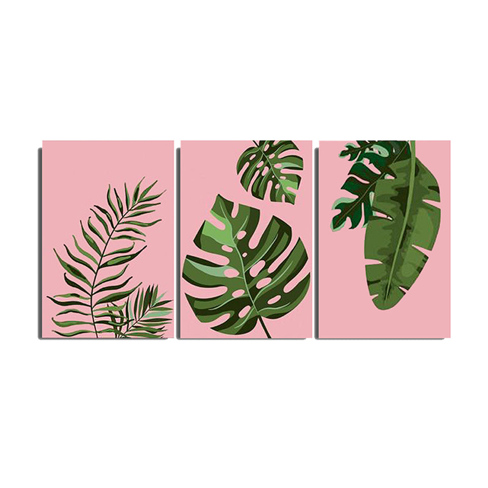 Three Pieces Tropical Leaves Pink Handmade Canvas Painting