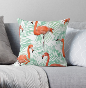 SuperSoft Flamingo & Mint Throw Pillow