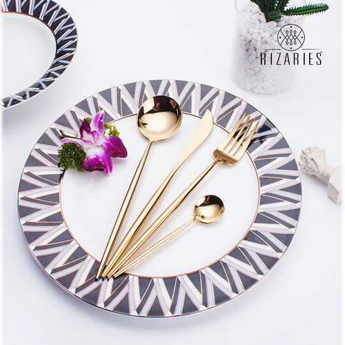 Shiny Full Gold Modern Cutlery Set (PRE ORDER)