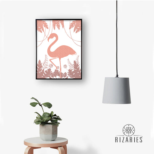 Flamingo & Leaves Handmade Canvas Painting